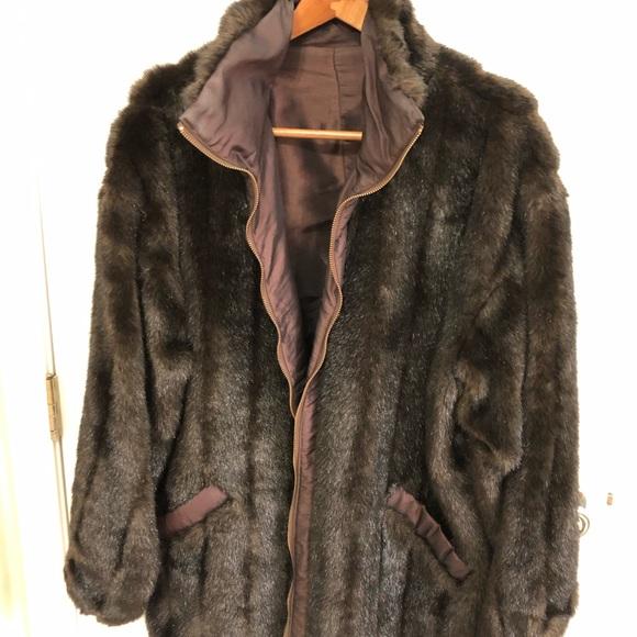 Jackets & Blazers - Faux Fur Mink Jacket, Reversible, Size 16